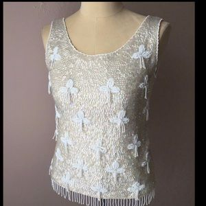 1950's Vintage REGALIA Ivory Sequin Shell Top -